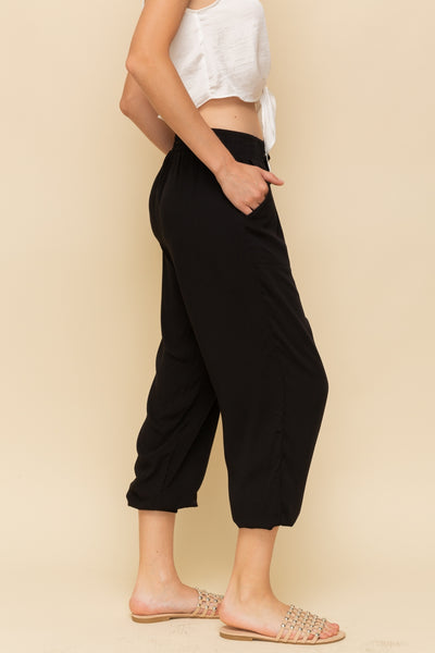 Feels Like Heaven Rayon Black Joggers