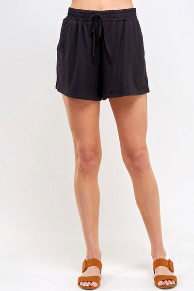 Let's Lounge French Modal Shorts-Black