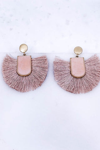 Right On Time Mauve Pink Tassel Earrings