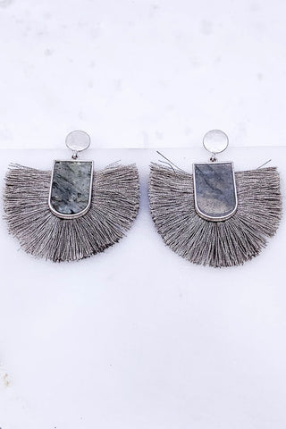 Right On Time Dark Gray Tassel Earrings