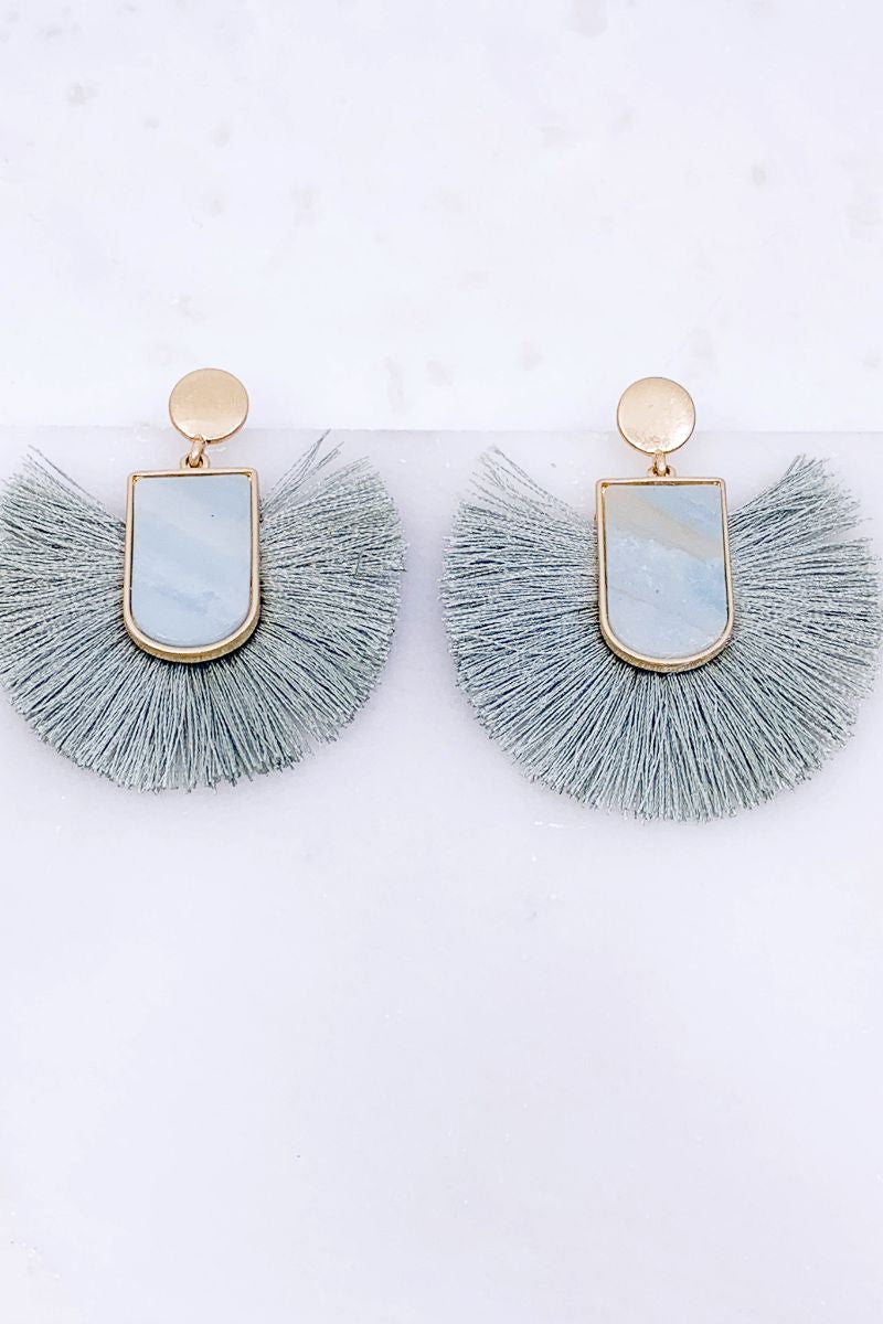 Right On Time Baby Blue Tassel Earrings