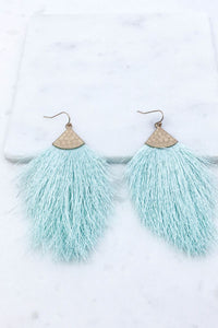 Vacation Vibes Mint Tassel Earrings