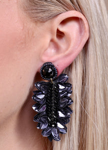 City Sparkles Fontaine Embellished Leaf Earrings