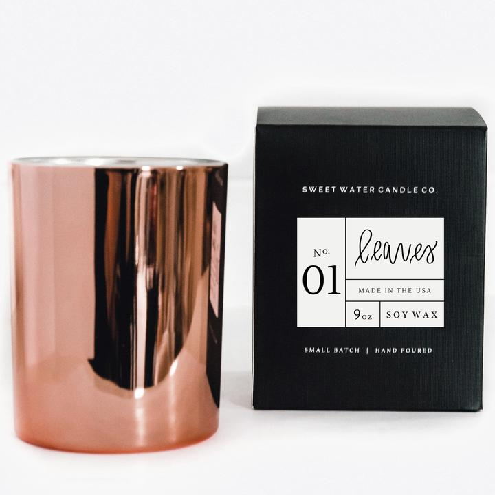 Leaves Rose Gold Soy Candle
