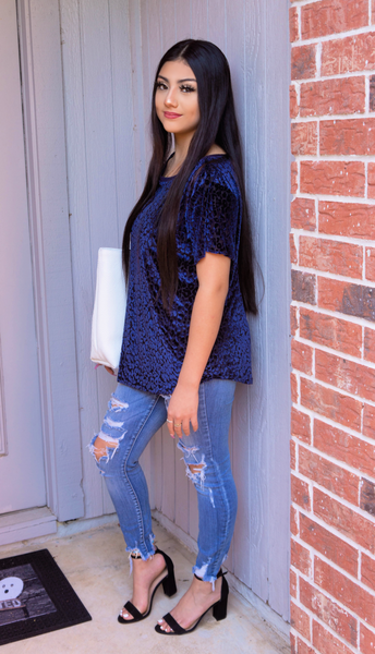 Impeccable Style Navy Leopard Top