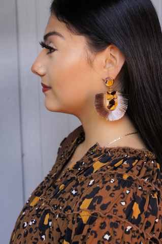 Spiced Apple Acrylic Fringe Earrings
