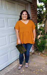 Date Night At The Pumpkin Patch Shift Top-Pumpkin Spice