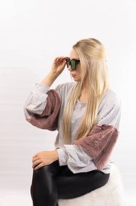 Fauxy Fur Sleeve Heathered Top
