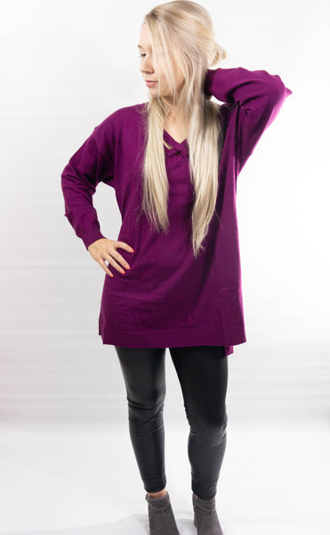 High-Low Crossed Scoop Neck Pullover