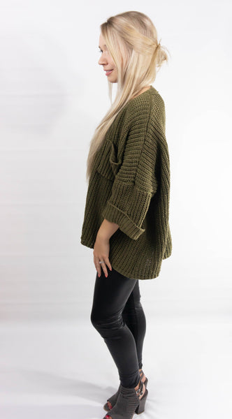 Olive Oversized Chenille Sweater