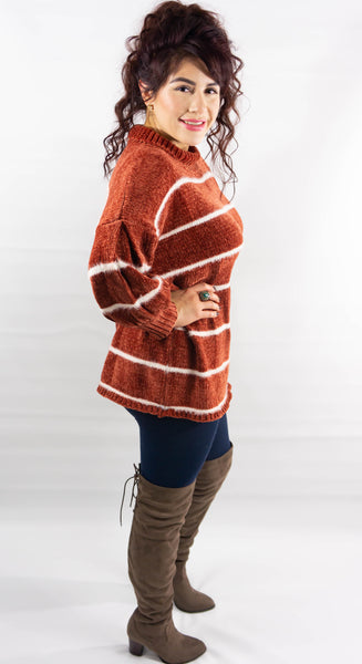 Brick Red Mock Neck Chenille Sweater