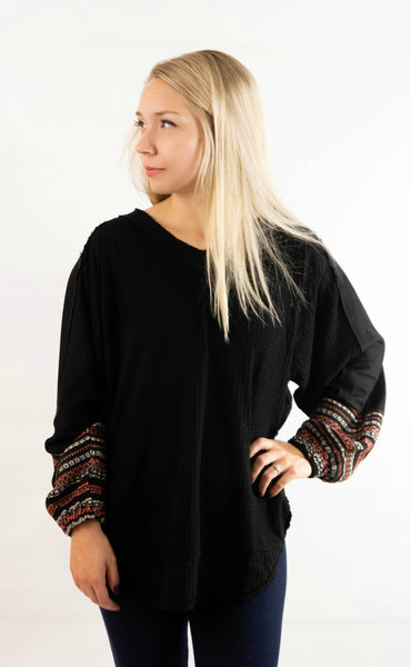Waffle Knit Puff Sleeve Top