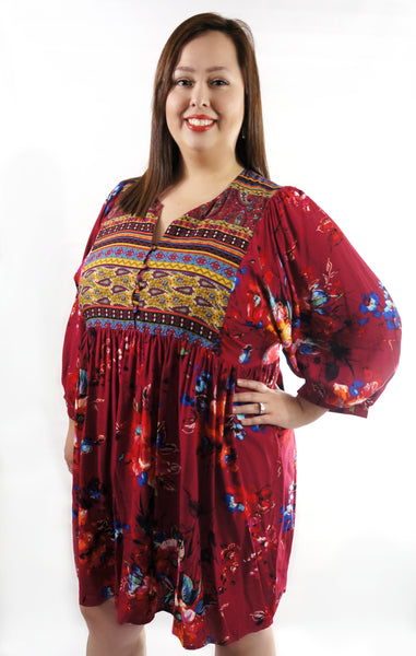 Boho Burgundy Weekender Dress