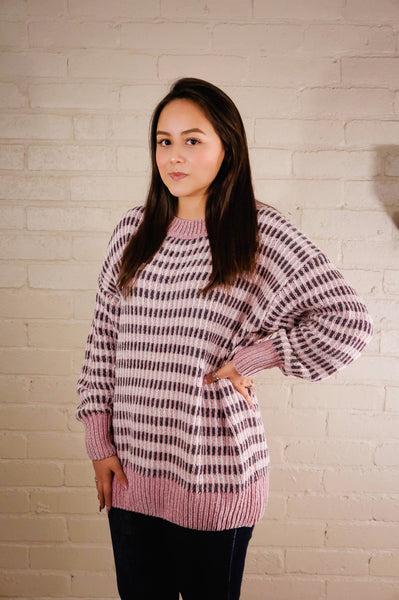 LoveStruck Mauve and Grey Chenille Sweater