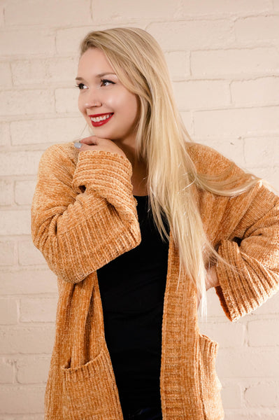Heart of Gold Honey Chenille Cardigan