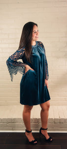 Cold as Ice Steel Blue Velvet Dress