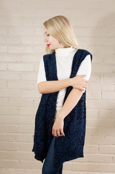 A Warm Embrace Midnight Blue Chenille Vest
