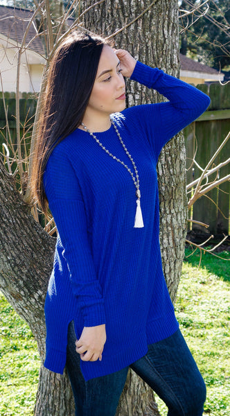 Be Mine Royal Blue Waffle Knit Top