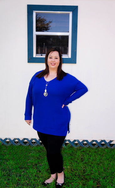 Be Mine Infinite Royal Blue Waffle Knit Top