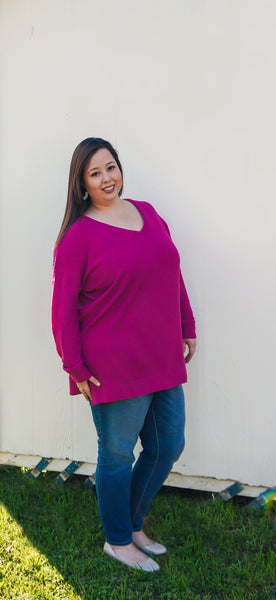 Be Mine Magenta Waffle Knit Top
