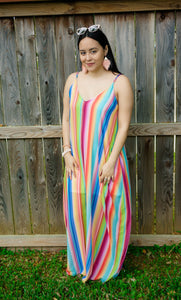 Diva in Wonderland Rainbow Multi Striped Maxi