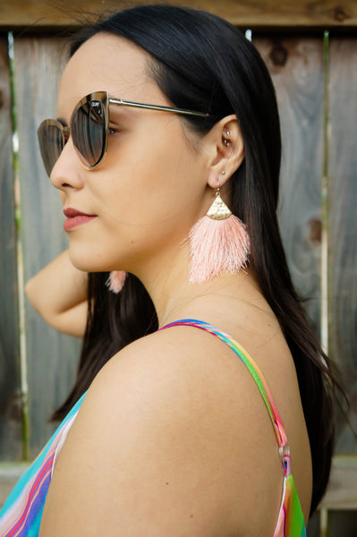 Vacation Vibes Coral Pink Tassel Earrings