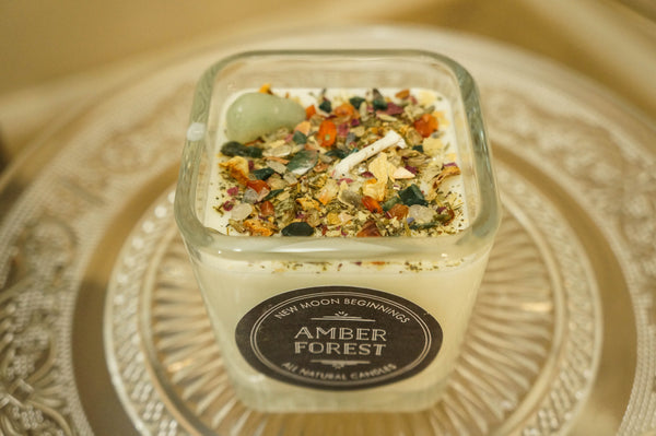 Amber Forest Crystal & Herb Energy Candle