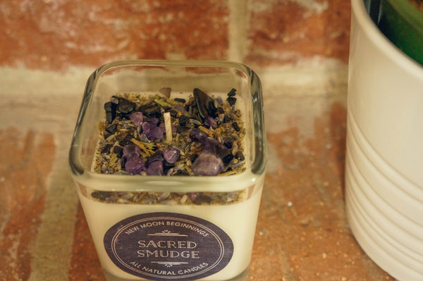 Sacred Smudge Crystal & Herb Energy Candle