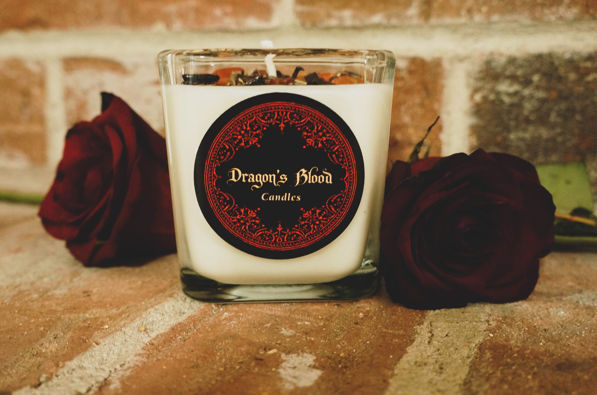 Dragon's Blood Crystal & Herb Energy Candle