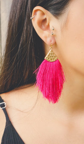 Vacation Vibes Magenta Pink Tassel Earrings