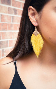 Vacation Vibes Sunny Yellow Tassel Earrings