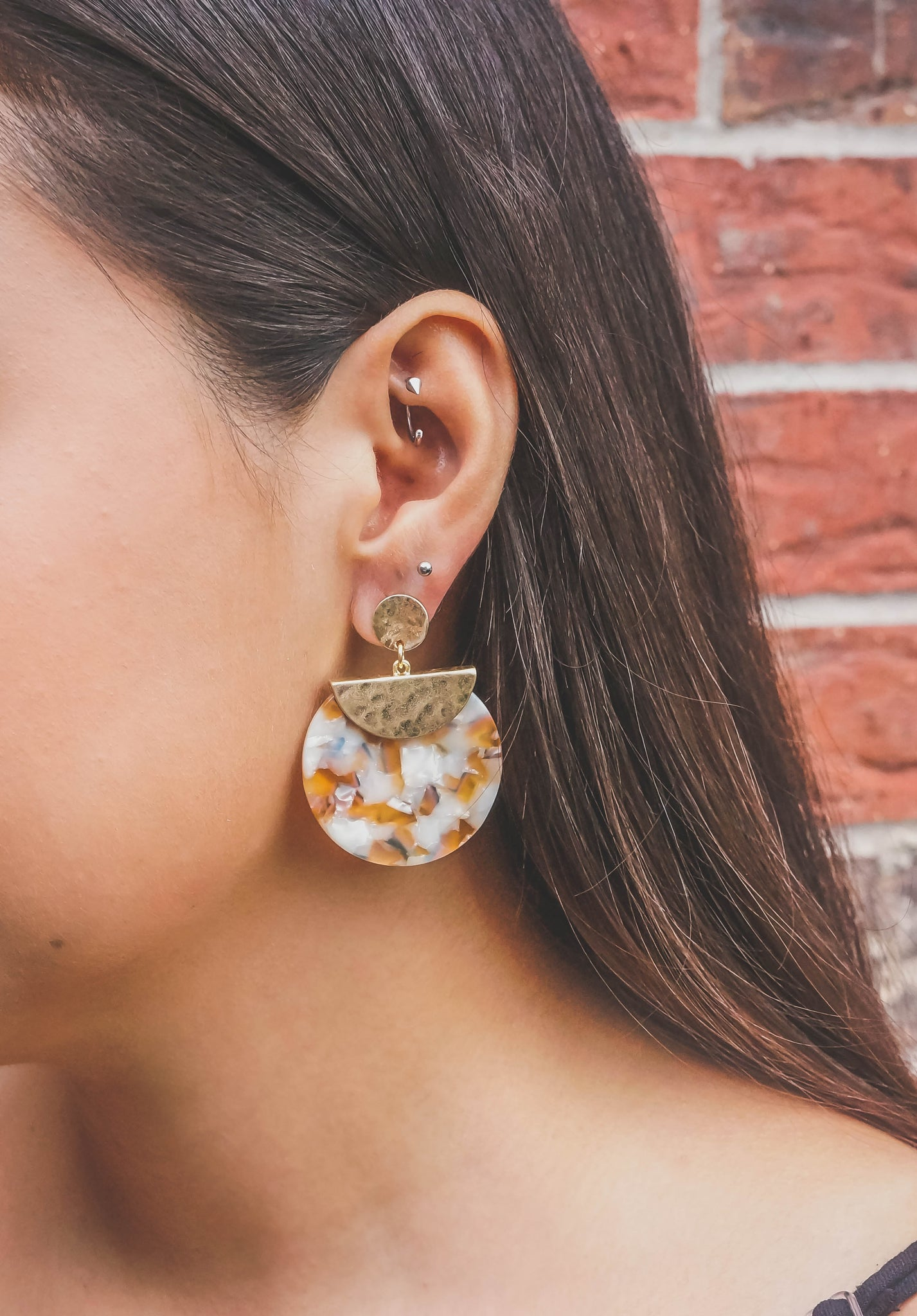 Sunset Isle Worn Gold and Multi Colored Resin Earring