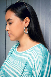 Casually Chic Wooden Hoop Earrings-Steel Blue