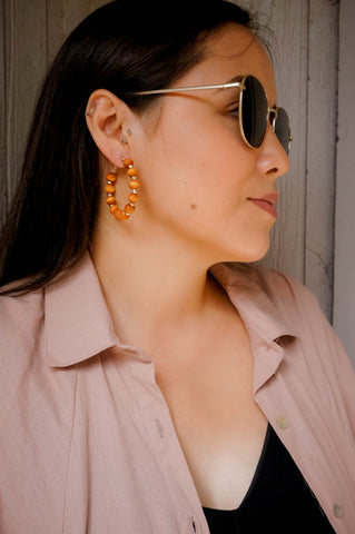 Casually Chic Wooden Hoop Earrings-Honey Brown