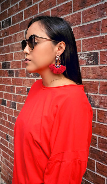 Send Me Roses Red Tassel Earrings