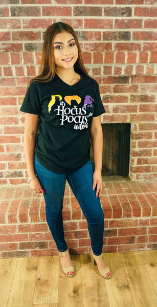 It's Hocus Pocus Time Witches Graphic V-Neck Tee- Black