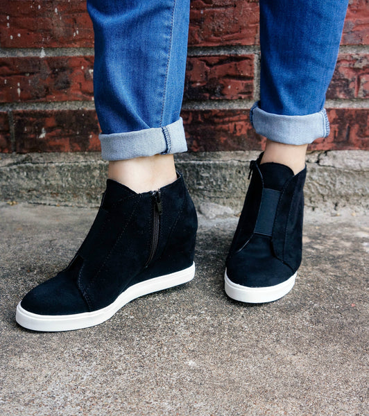 """The Layla"" Faux Suede Wedge Sneakers"
