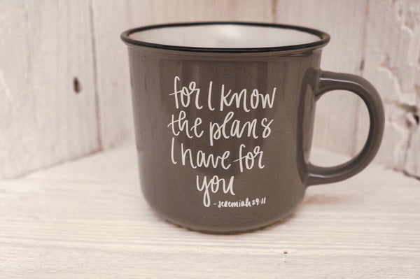 """For I Know The Plans"" Jeremiah 29:11 Campfire Coffee Mug"
