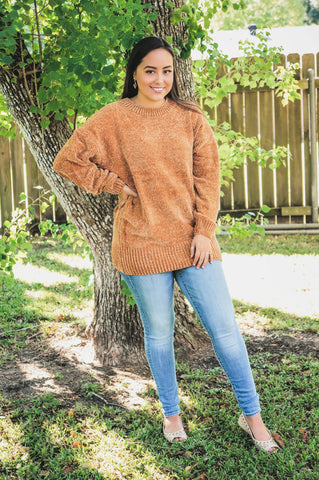 Cozy On My Mind Chenille Sweater-Mustard