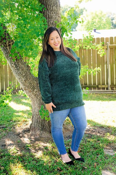 Cozy on My Mind Chenille Sweater-Spruce Green