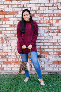 Cozy On My Mind Chenille Sweater-Plum Wine
