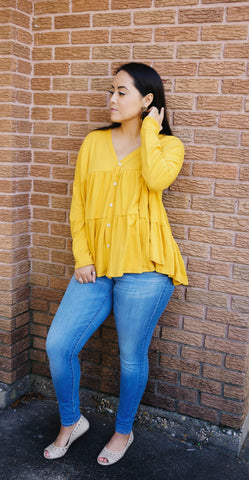 Need To Know Bumblebee Yellow Babydoll Top