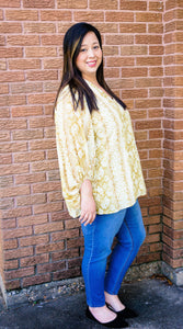 Sleek & Sassy Snake Print Top-Golden Yellow