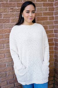 Dolman Knit Tunic Sweater-Winter White
