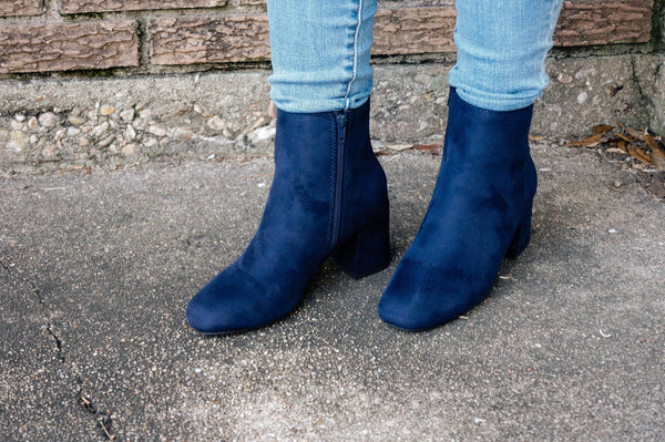 Must Be Famous Navy Blue Booties