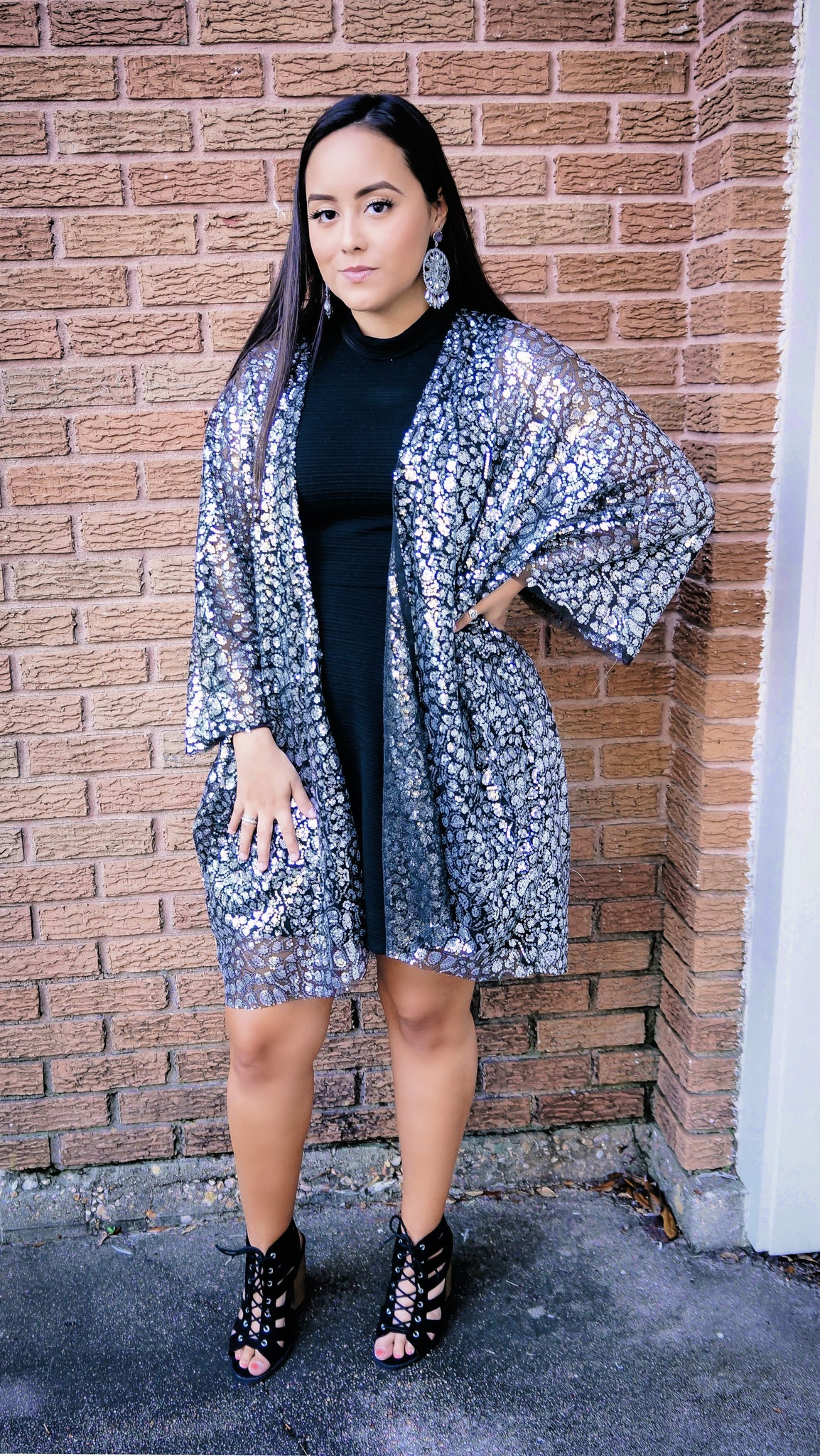 Silver Tinsel Dreams Sequin Cardigan