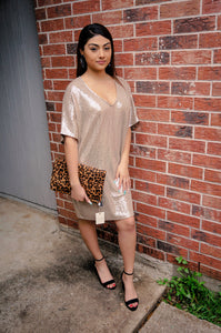 The Golden Girl Sequin Shift Dress