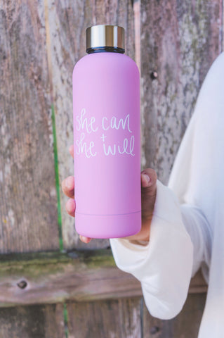 She Can+She Will Metal Water Bottle