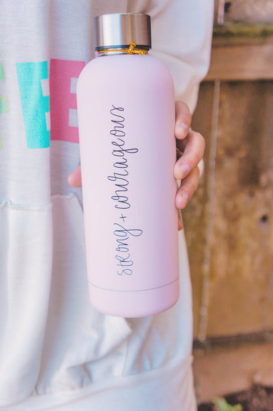Strong + Courageous Metal Water Bottle