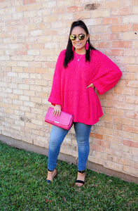Pretty In Pink Popcorn Knit Sweater